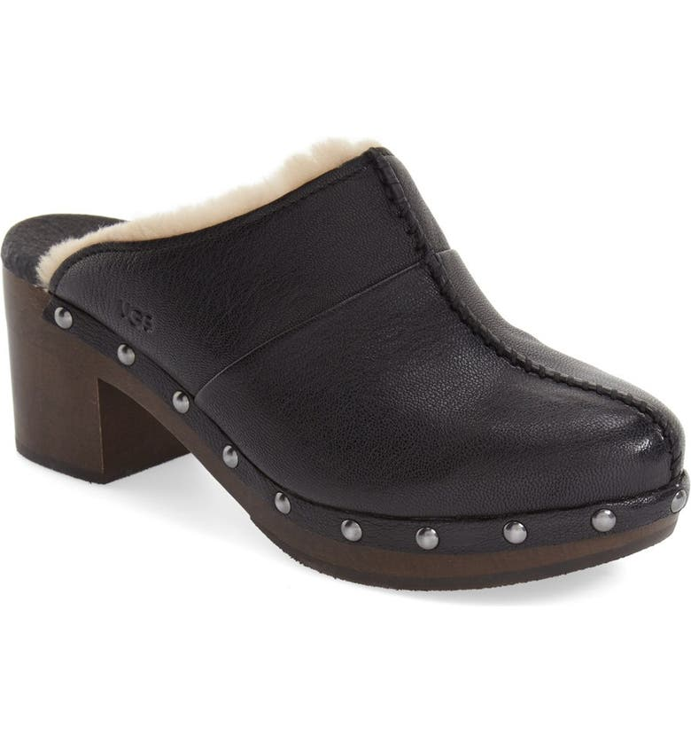 UGG<SUP>®</SUP> 'Kassi' Genuine Shearling Clog, Main, color, 001