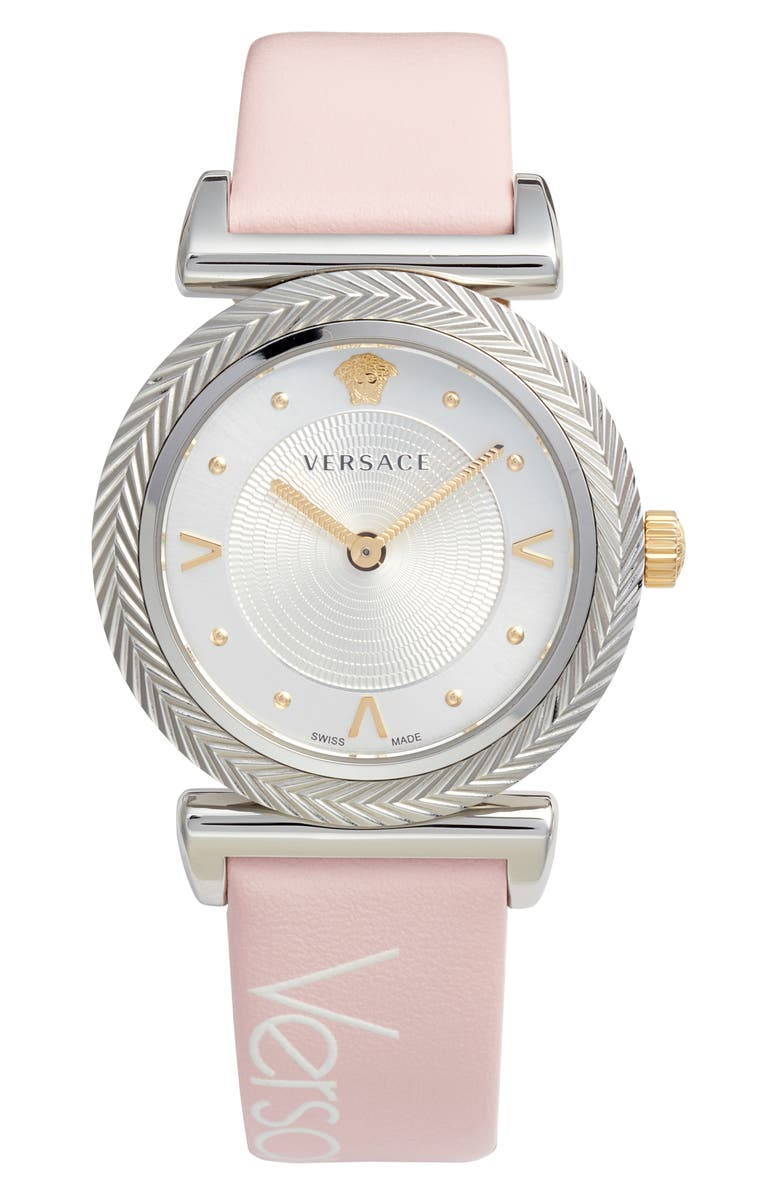 VERSACE V Motif Leather Strap Watch, 35mm, Main, color, PINK/ WHITE/ SILVER