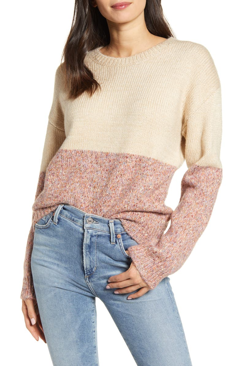 CUPCAKES AND CASHMERE Carmel Colorblock Sweater, Main, color, SOFT TAN