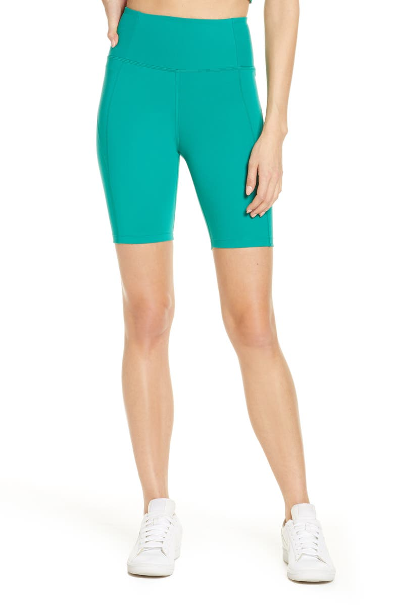 GIRLFRIEND COLLECTIVE High Waist Bike Shorts, Main, color, SAGUARO