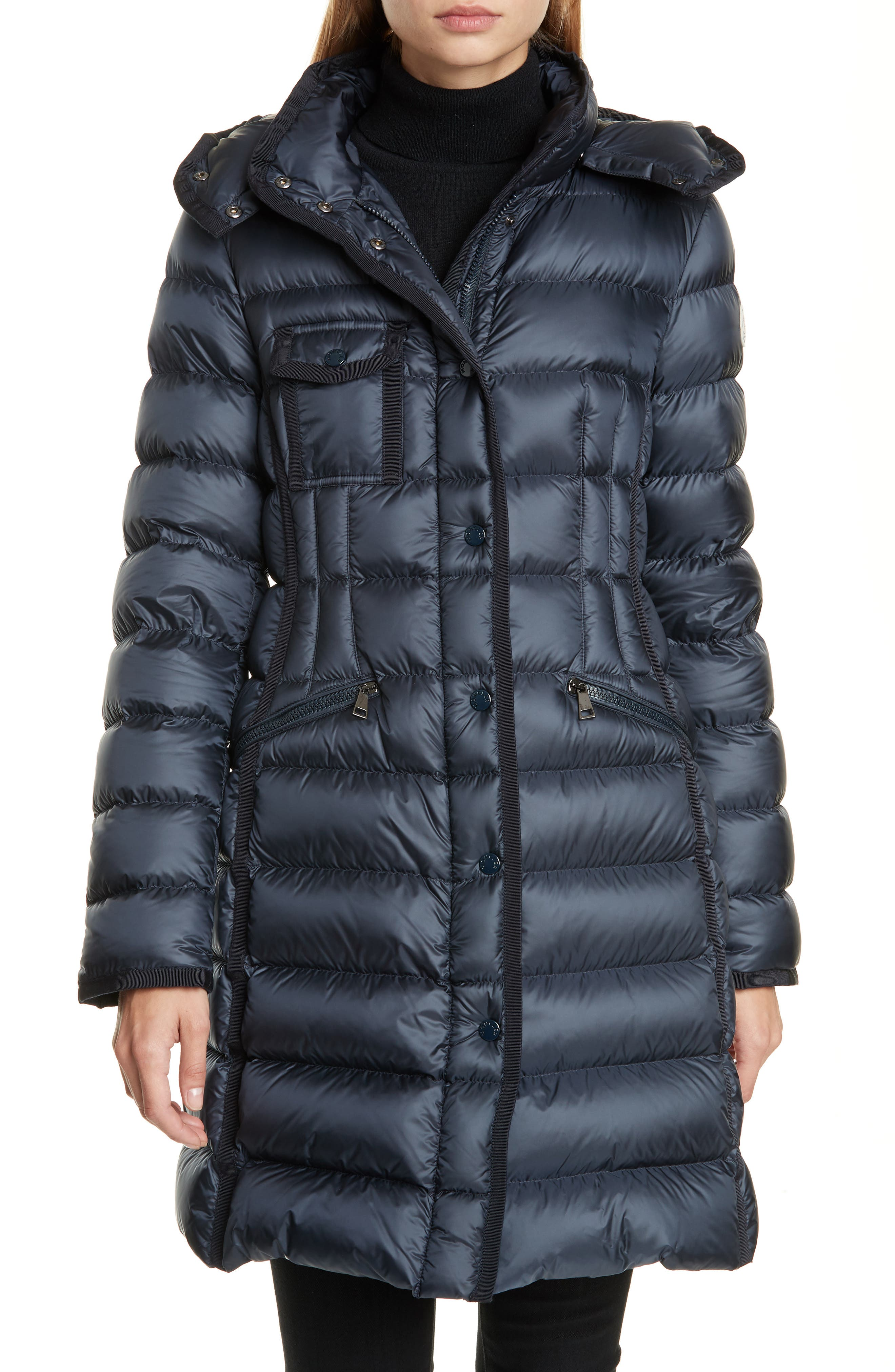 Moncler Hermine Grosgrain Trim Quilted Down Puffer Coat