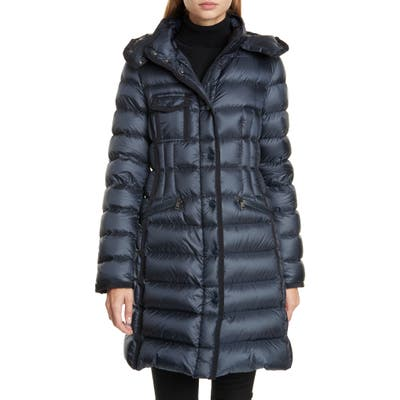 Moncler Hermine Grosgrain Trim Quilted Down Puffer Coat, (fits like 0-2 US) - Blue