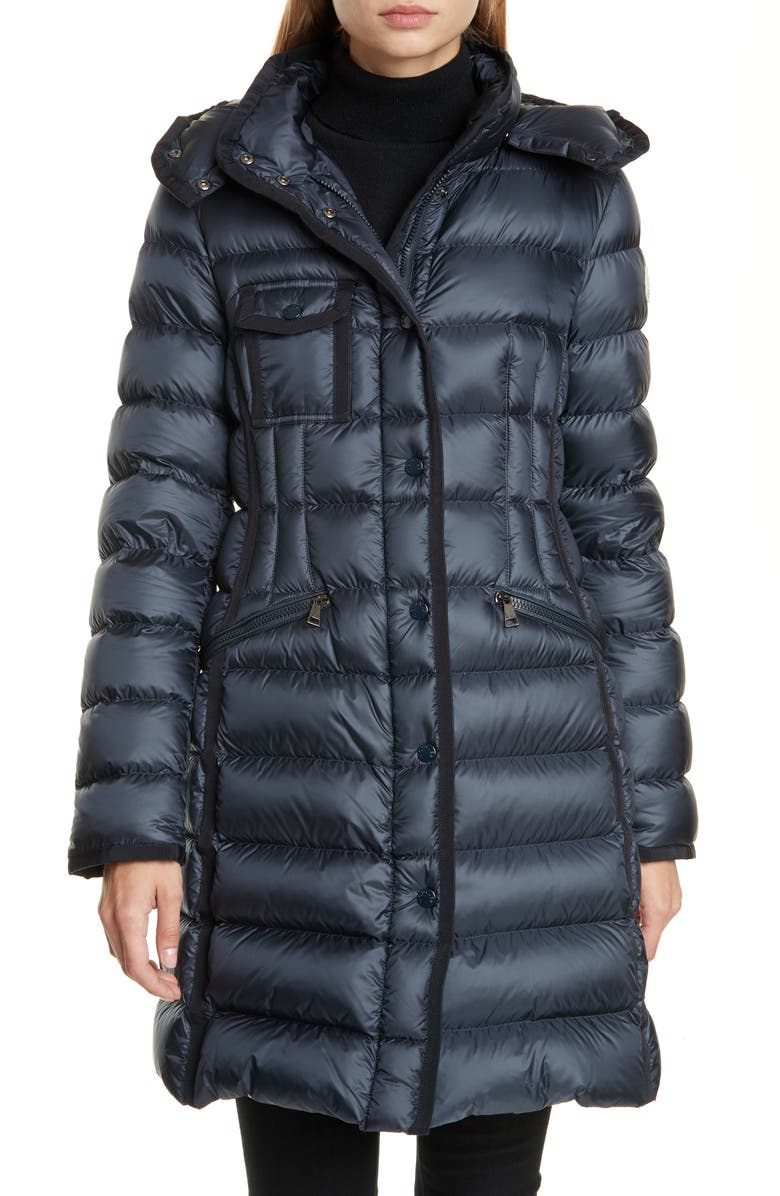 MONCLER Hermine Grosgrain Trim Quilted Down Puffer Coat, Main, color, 419