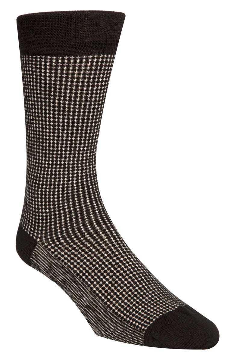 COLE HAAN Check Dress Socks, Main, color, 001
