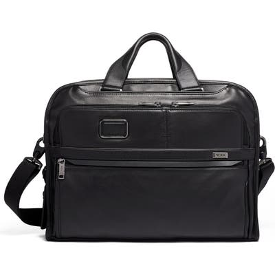 Tumi Alpha 3 Organizer Portfolio Leather Briefcase - Black