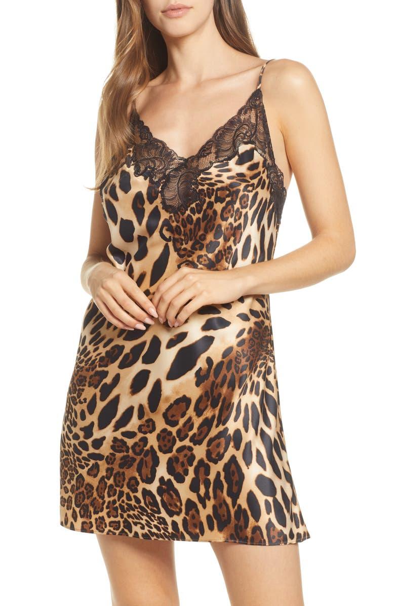 NATORI Leopard Print Chemise, Main, color, 200