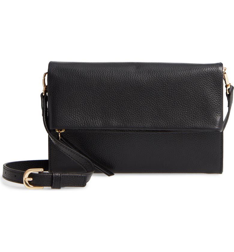 NORDSTROM Ellie Leather Crossbody Clutch, Main, color, BLACK