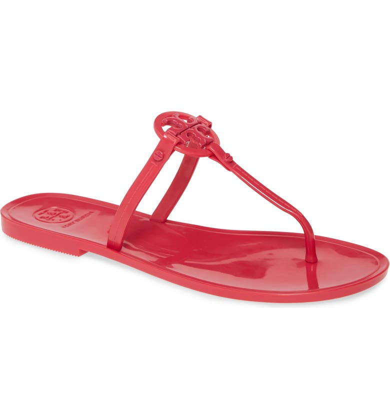 TORY BURCH 'Mini Miller' Flat Sandal, Main, color, BRIGHT AZALEA