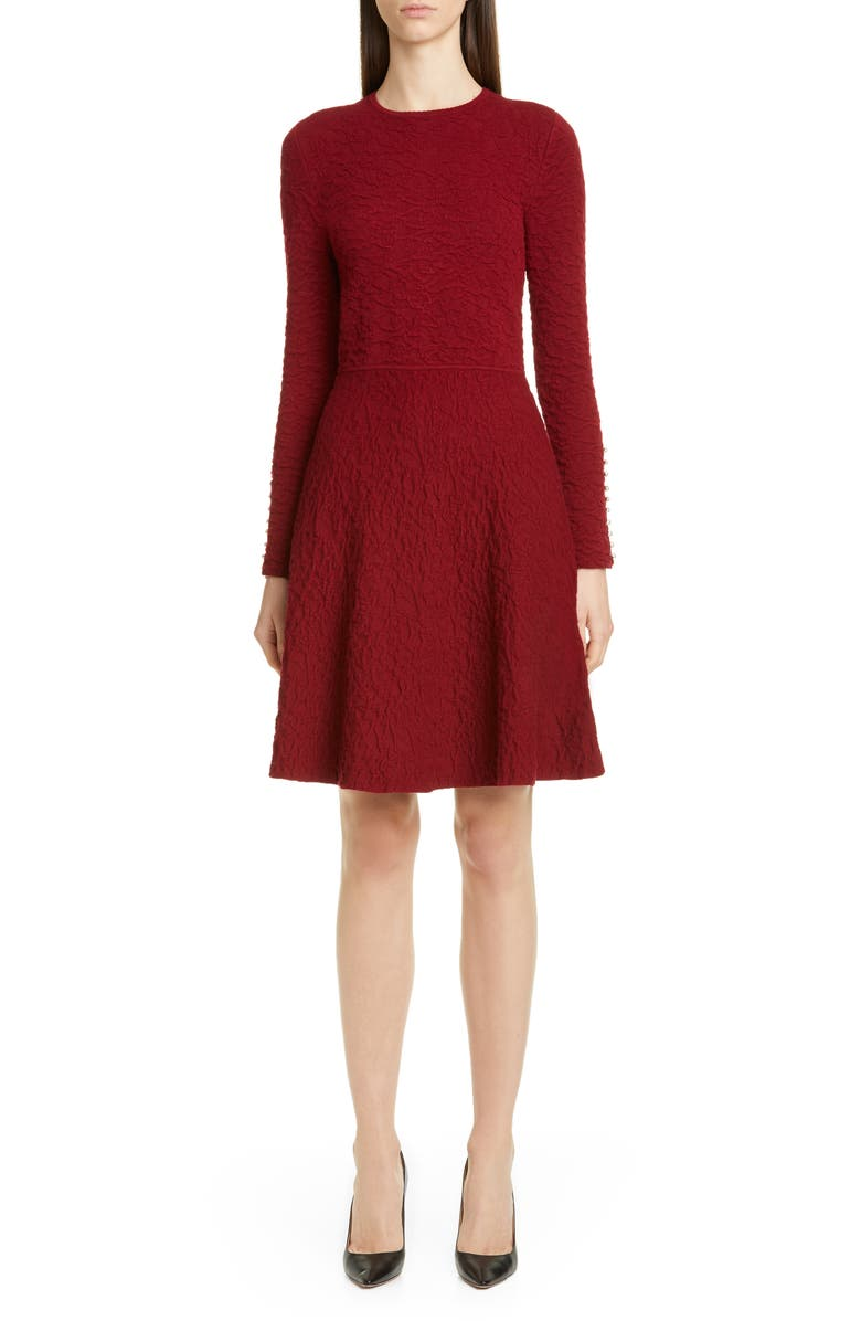 LELA ROSE Button Detail Long Sleeve Textured Sweater Dress, Main, color, BORDEAUX