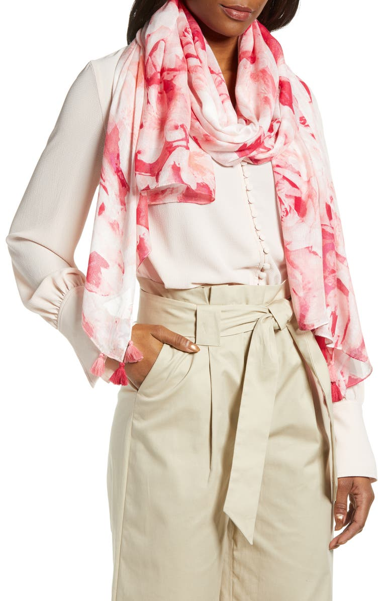 NORDSTROM Print Modal Wrap, Main, color, PINK FRACTURED ROSE