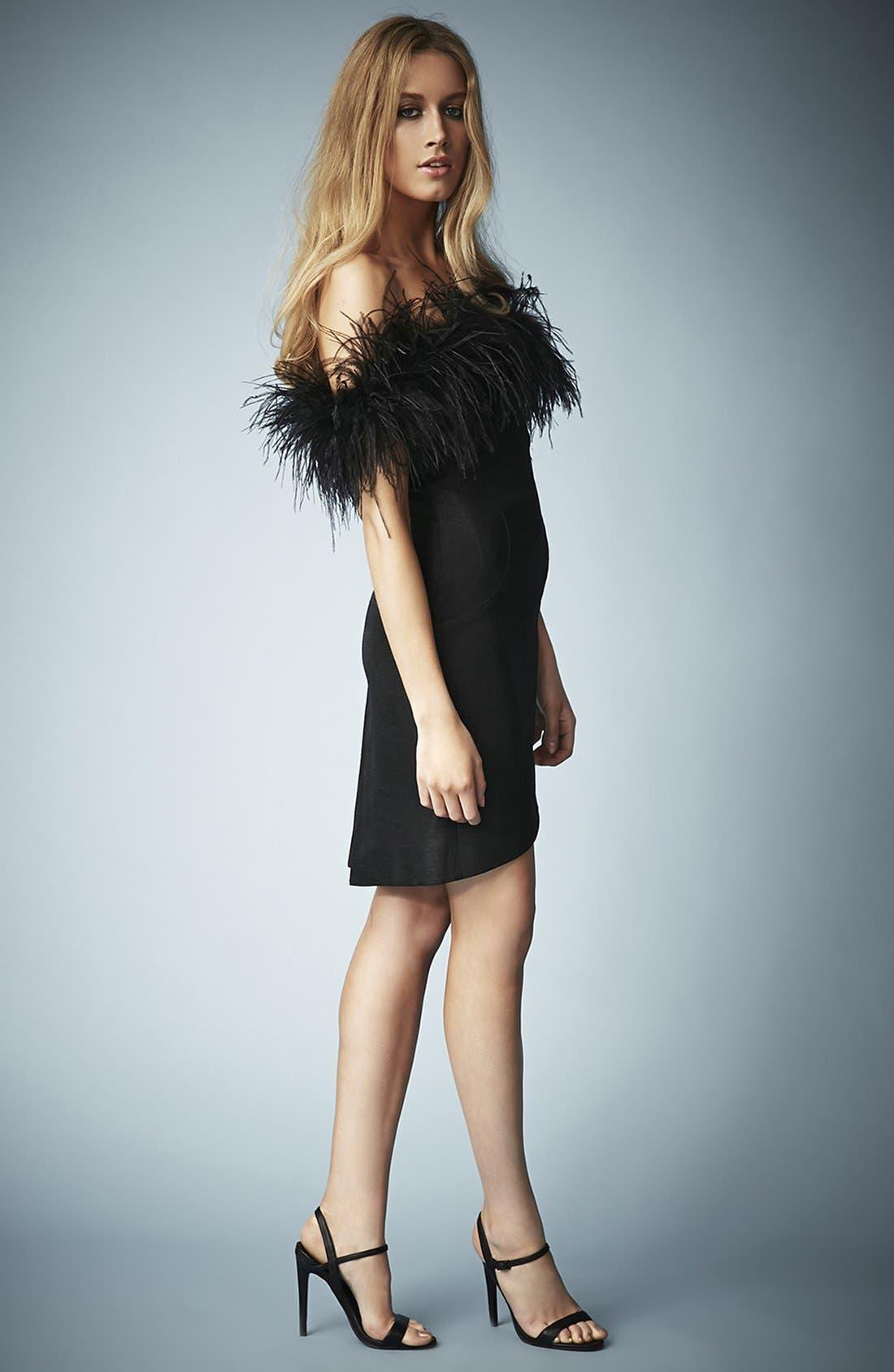 ,                             Kate Moss for Topshop Feather Off Shoulder Cocktail Dress,                             Alternate thumbnail 3, color,                             001