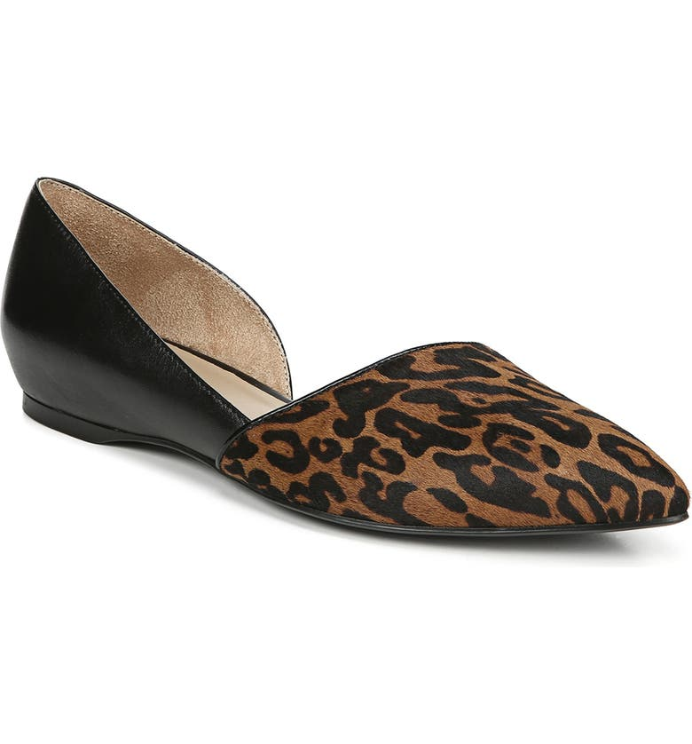NATURALIZER Samantha Half d'Orsay Genuine Calf Hair Flat, Main, color, CHEETAH/ BLACK CALF HAIR