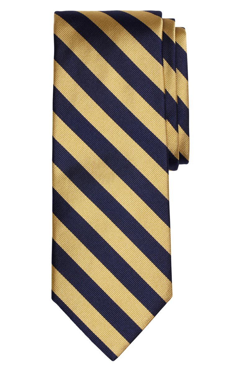 BROOKS BROTHERS Thick Stripe Silk Tie, Main, color, NAVY