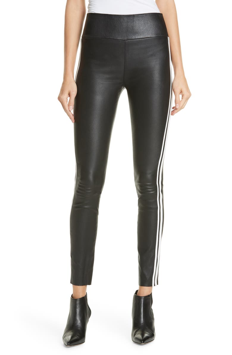 SPRWMN Two-Stripe Athletic Leather Ankle Leggings, Main, color, 001