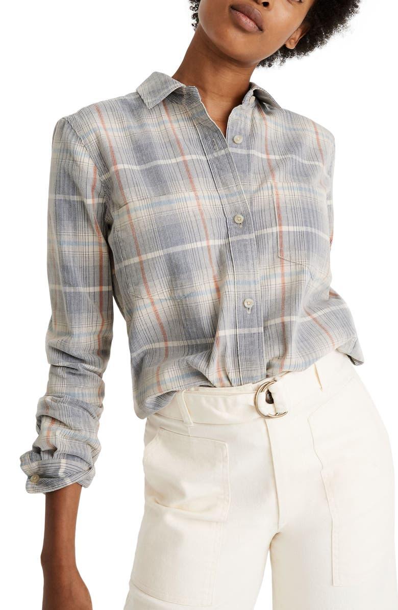 MADEWELL Plaid Classic Ex-Boyfriend Corduroy Shirt, Main, color, CORDUROY PLAID YD