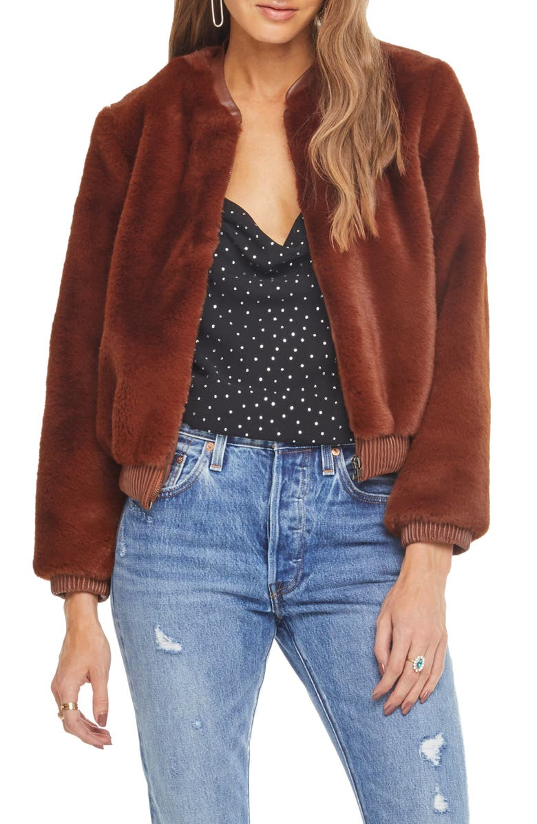 ASTR THE LABEL Frankie Faux Fur Bomber Jacket, Main, color, 200