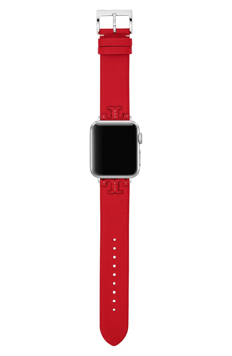 TORY BURCH McGraw Leather Apple Watch Strap, Main, color, RED