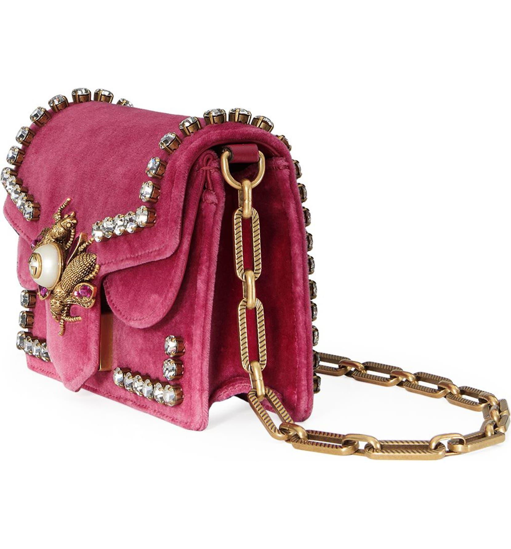 7f555f9a42cb Gucci Broadway Bee Velvet Shoulder Bag | Nordstrom
