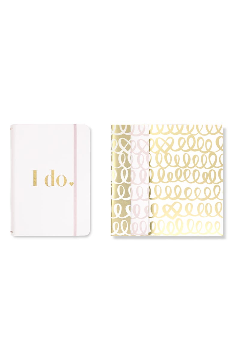 KATE SPADE NEW YORK kate spade i do set of 3 notebooks, Main, color, GOLD