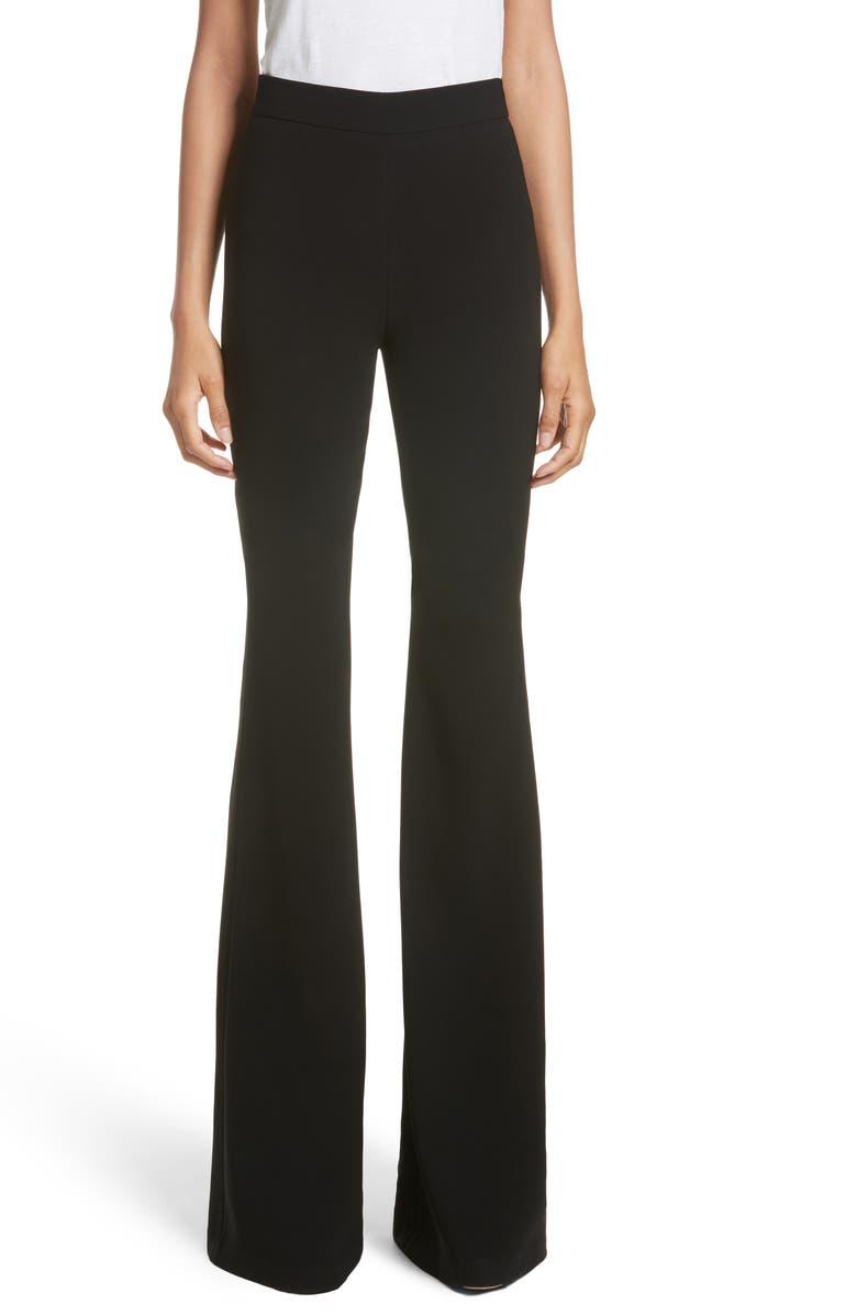 BRANDON MAXWELL Crepe Flare Pants, Main, color, BLACK