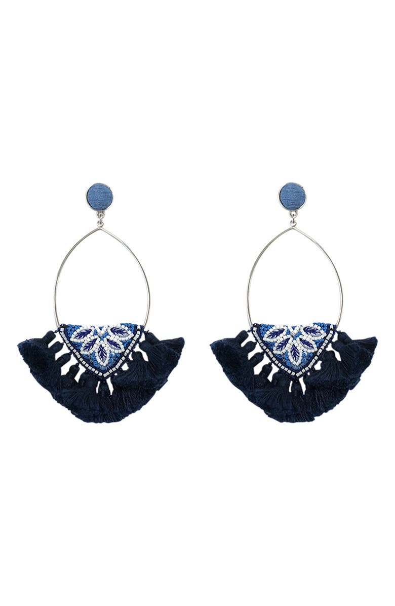 MIGNONNE GAVIGAN Sadie Fan Earrings, Main, color, BLUE