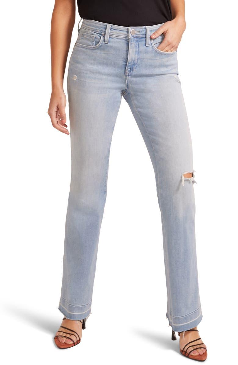 NYDJ High Waist Released Hem Flare Jeans, Main, color, DESTRUCTED NAOMI
