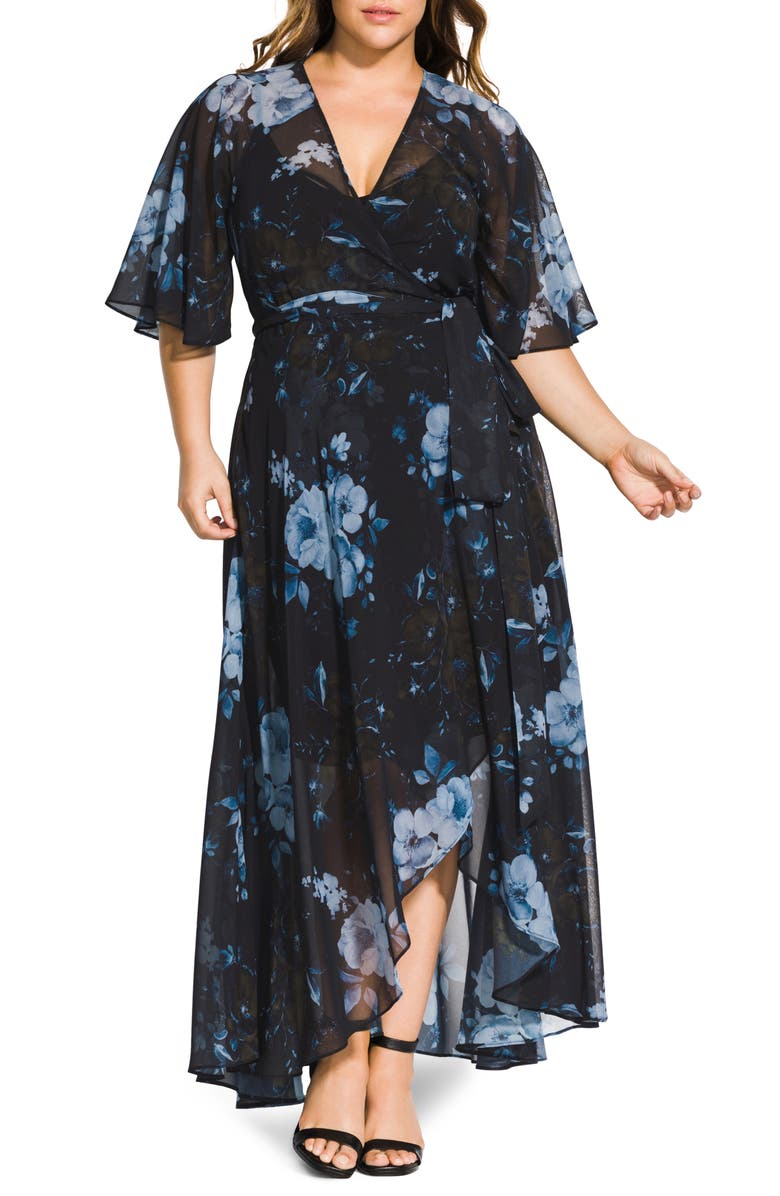 CITY CHIC Bonsai Floral Wrap Maxi Dress, Main, color, BONSAI FLORAL