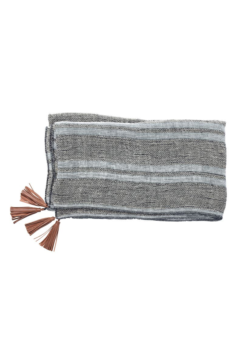 EADIE LIFESTYLE Oasis Linen Throw Blanket, Main, color, BLUE/ GRAY