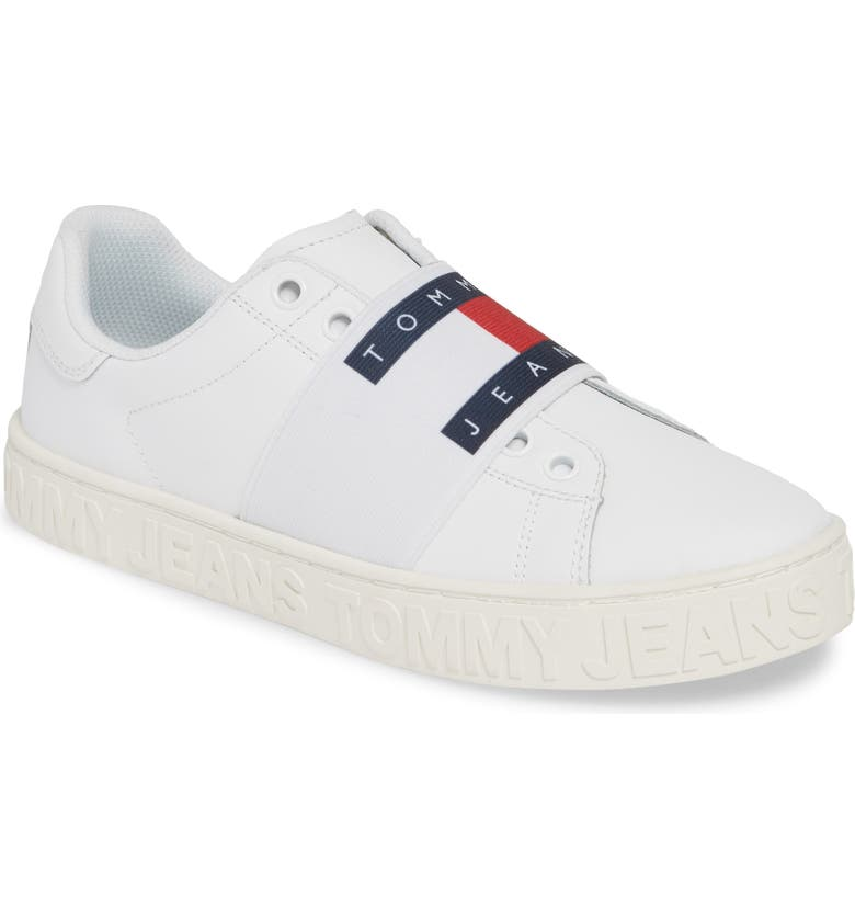 TOMMY JEANS Jaz Logo Sneaker, Main, color, WHITE
