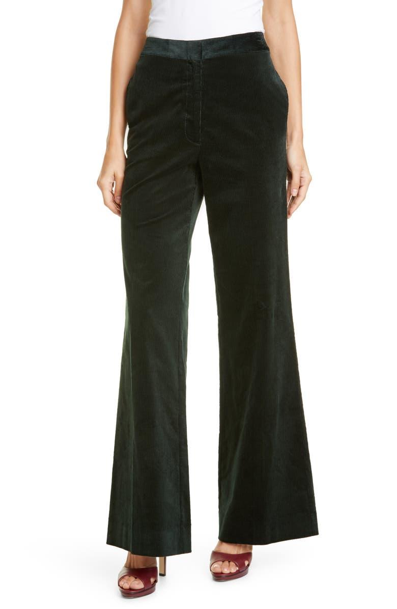 KATE SPADE NEW YORK modern flare stretch cotton corduroy pants, Main, color, DEEP SPRUCE