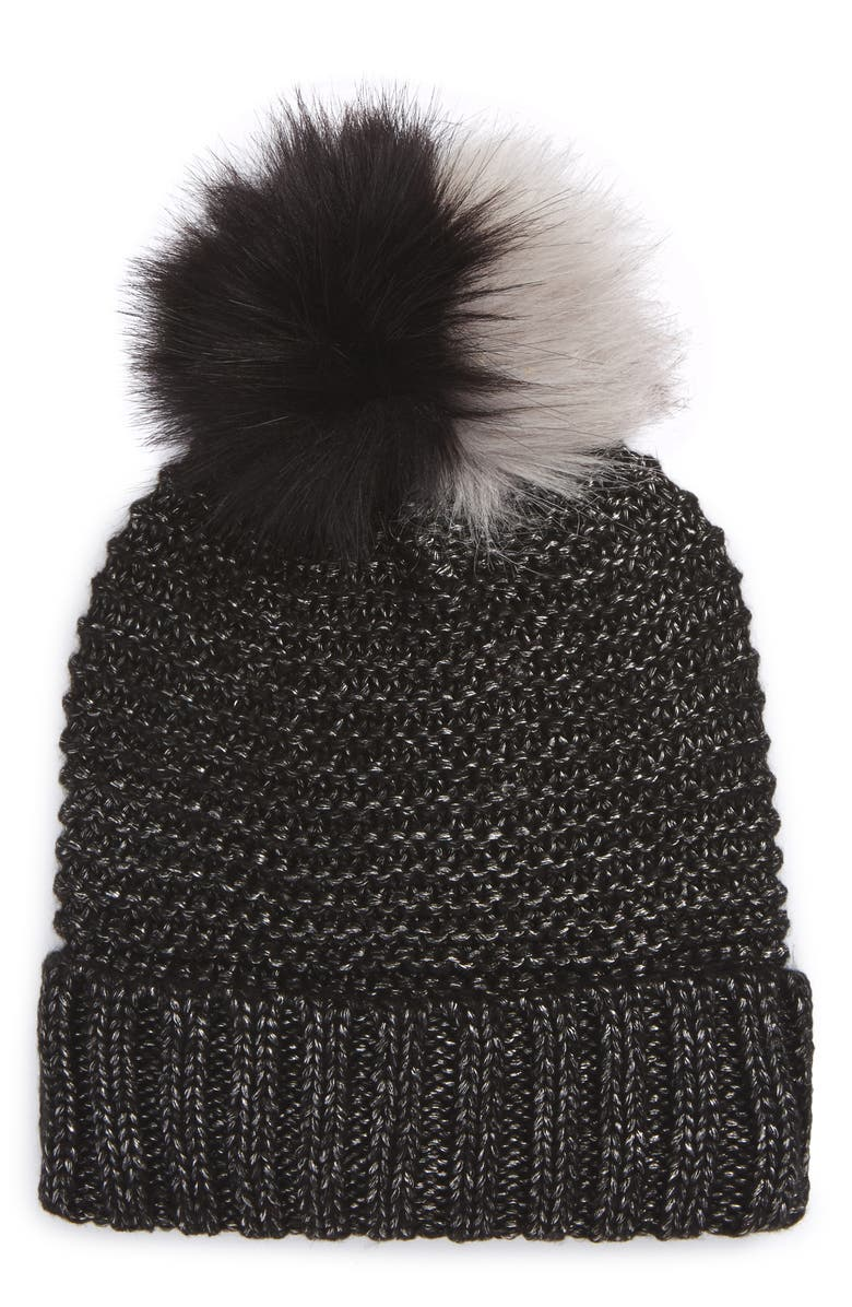 NYC UNDERGROUND Faux Fur Pompom Beanie, Main, color, 001