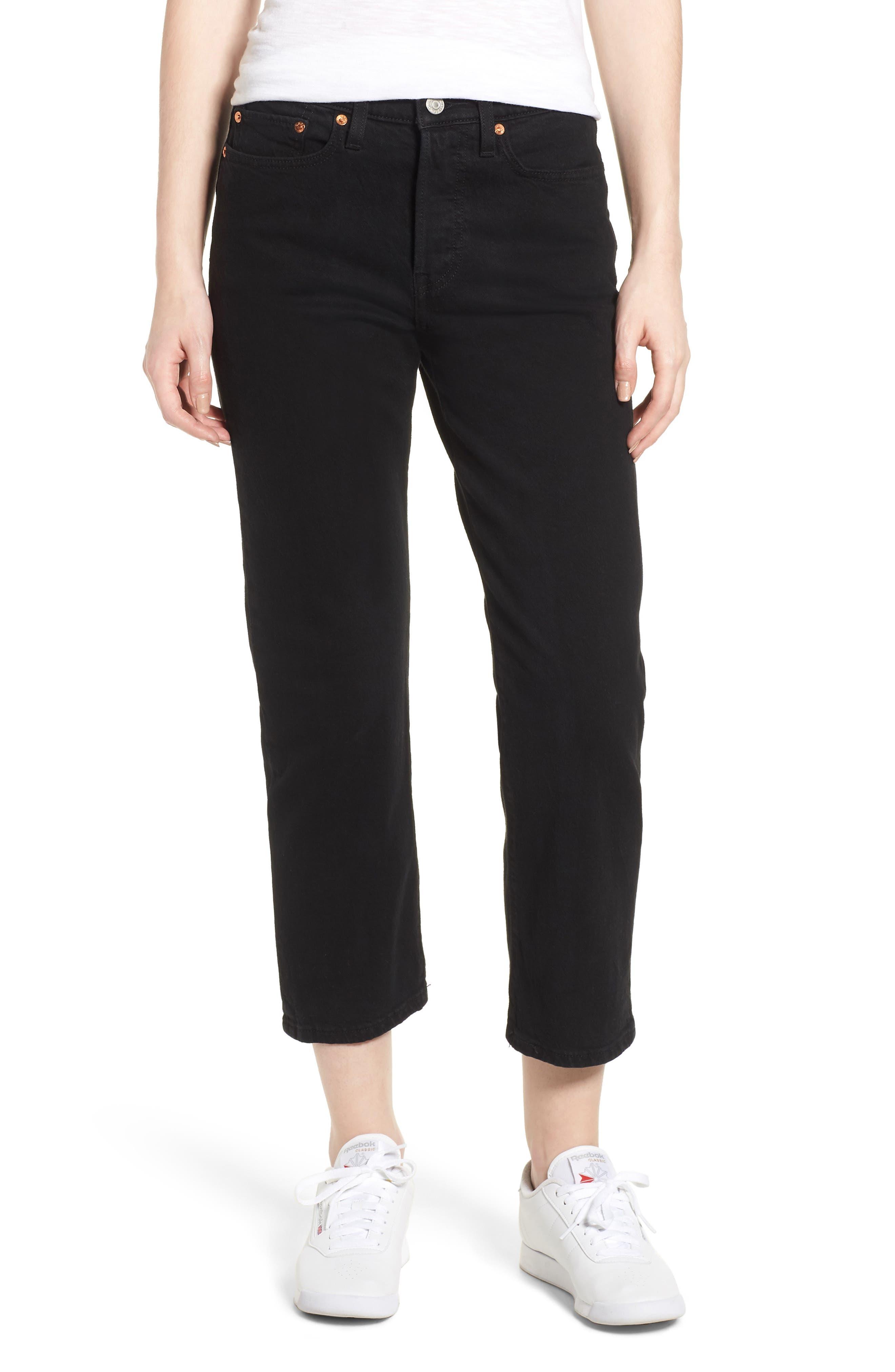Women's Levi's Wedgie High Waist Straight Jeans,  27 x 26 - Black