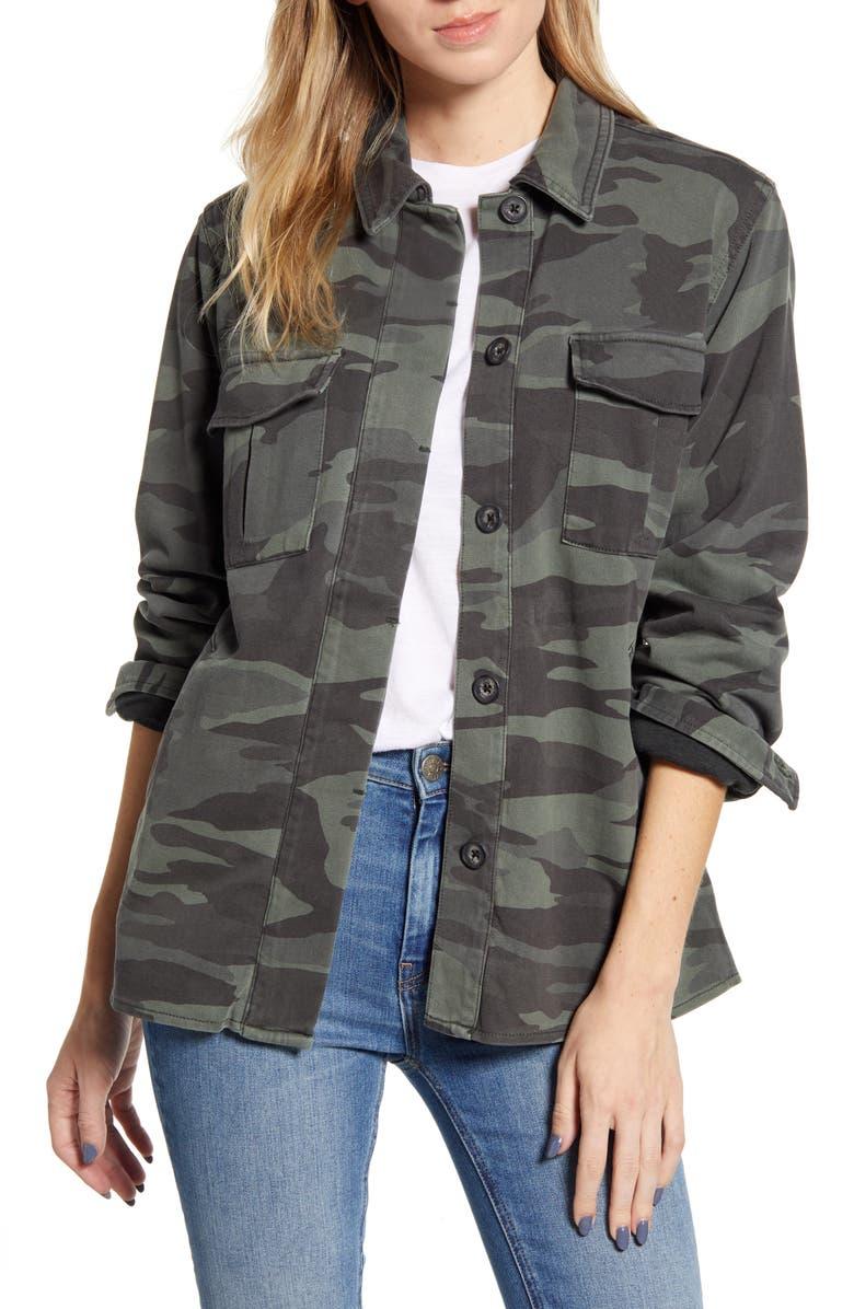 SPLENDID Camo Cargo Shirt Jacket, Main, color, VINTAGE OLIVE BRANCH