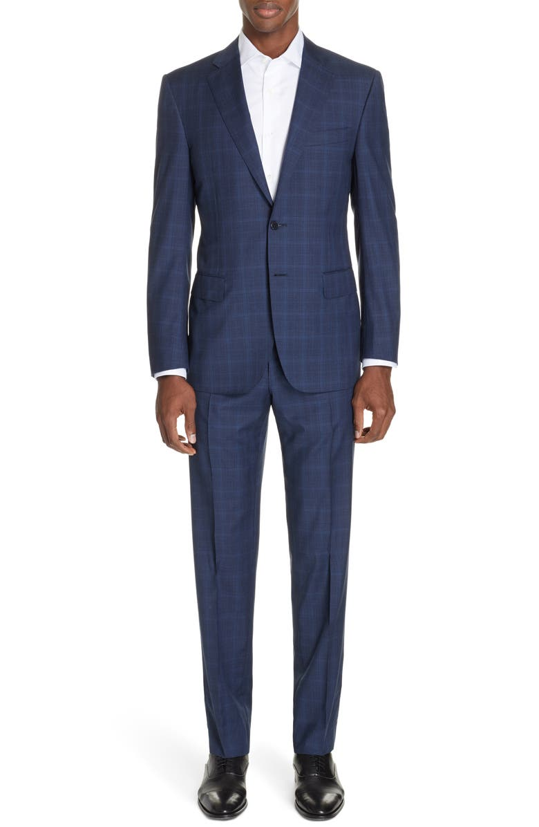 CANALI Sienna Classic Fit Plaid Wool Suit, Main, color, 410