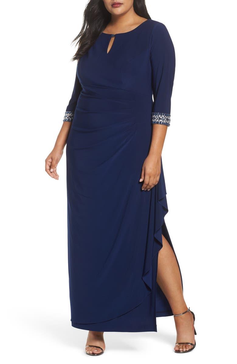 ALEX EVENINGS Embellished Faux Wrap Gown, Main, color, COBALT