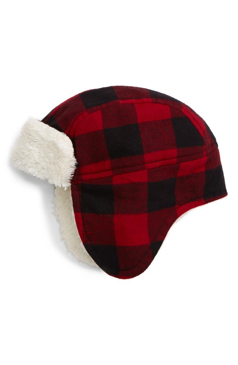 TUCKER + TATE Flight Buffalo Check Hat, Main, color, RED CHILI BUFFALO CHECK
