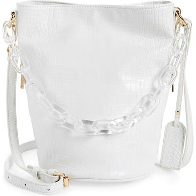 Sole Society Fayre Faux Leather Bucket Bag - White