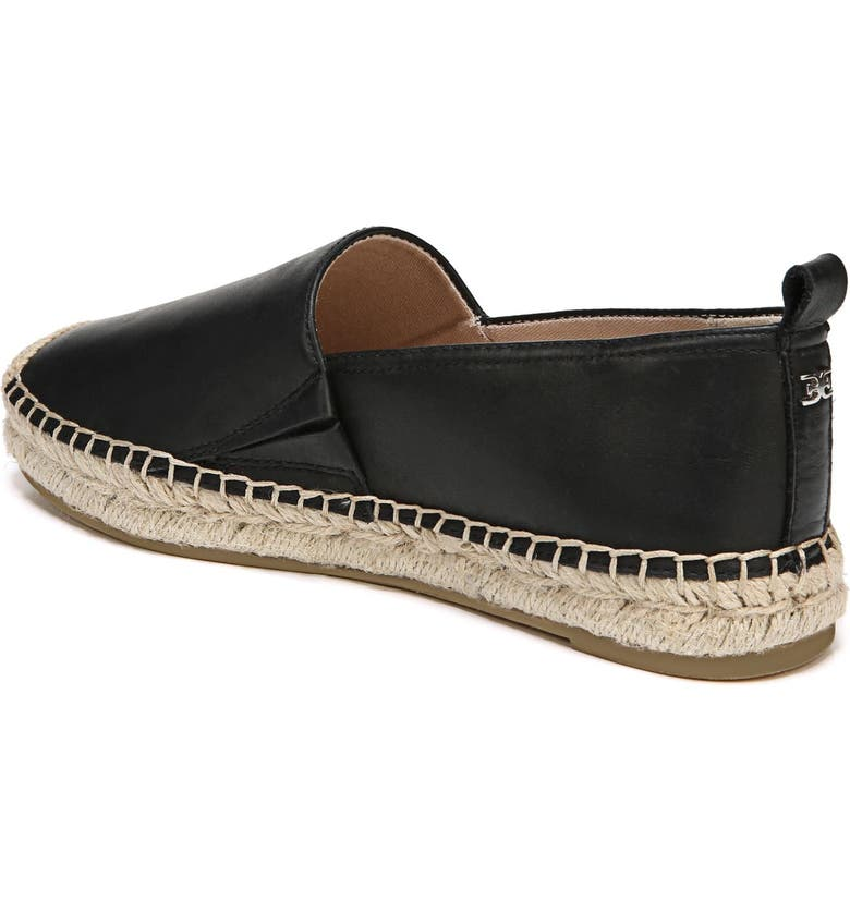 SAM EDELMAN Khloe Espadrille Flat, Alternate, color, BLACK LEATHER