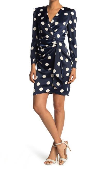 Image of London Times Charmeuse Dot Print Long Sleeve Wrap Dress
