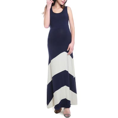 Kimi And Kai Sally Maternity Maxi Dress, Blue
