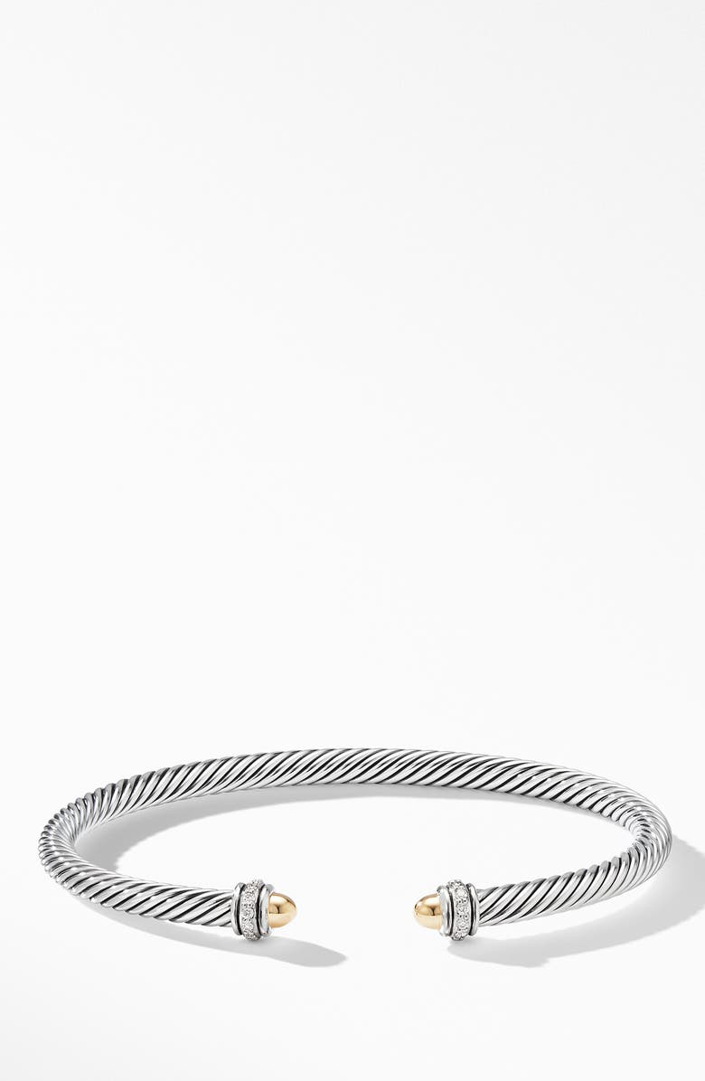 DAVID YURMAN 4mm Cable Classic Bracelet with 18K Gold & Diamonds, Main, color, GOLD DOME