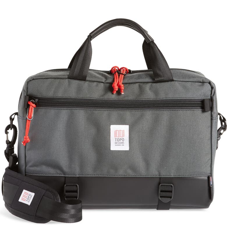 TOPO DESIGNS 'Commuter' Briefcase, Main, color, CHARCOAL/BLACK LEATHER