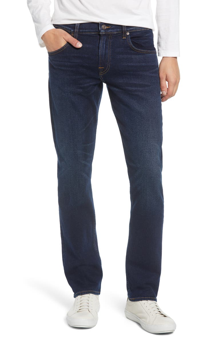 7 FOR ALL MANKIND<SUP>®</SUP> The Straight Slim Straight Leg Jeans, Main, color, MED DK BLUE WHISKERS
