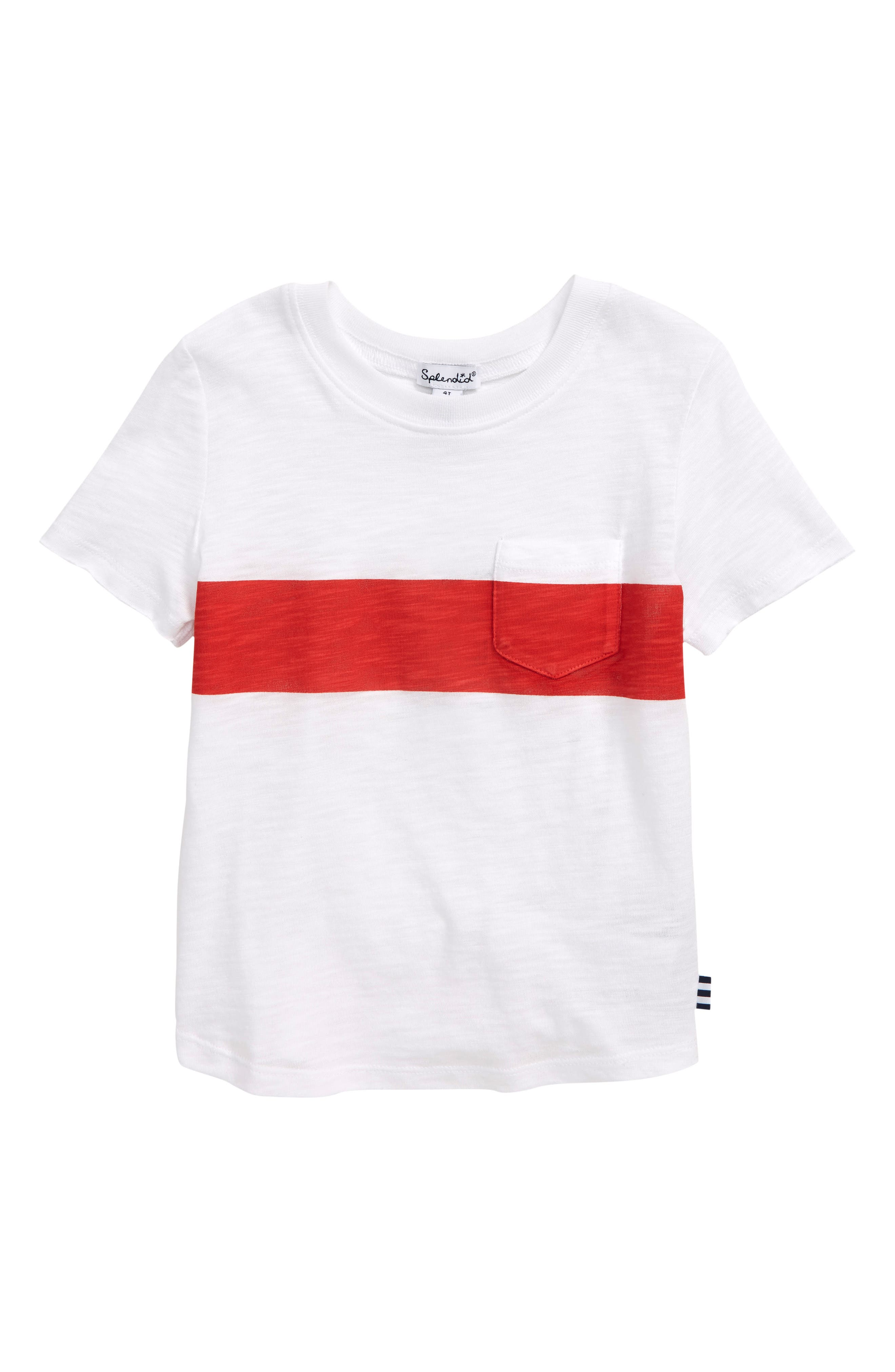 A bold, bright stripe stretches across the chest of a casual T-shirt in a lightweight cotton-and-modal blend. Style Name: Splendid Stripe T-Shirt (Toddler). Style Number: 6007688. Available in stores.