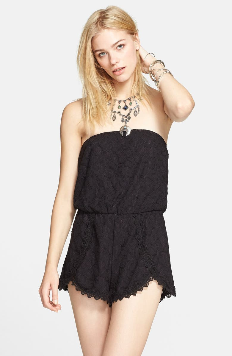 FREE PEOPLE 'Tahlia' Strapless Lace Romper, Main, color, 001