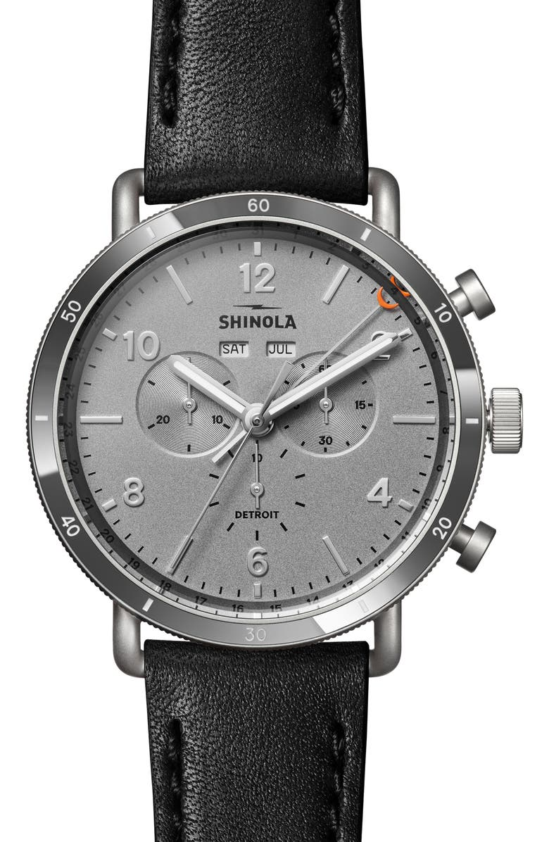 SHINOLA The Canfield Sport Chronograph Leather Strap Watch, 45mm, Main, color, BLACK/ GREY