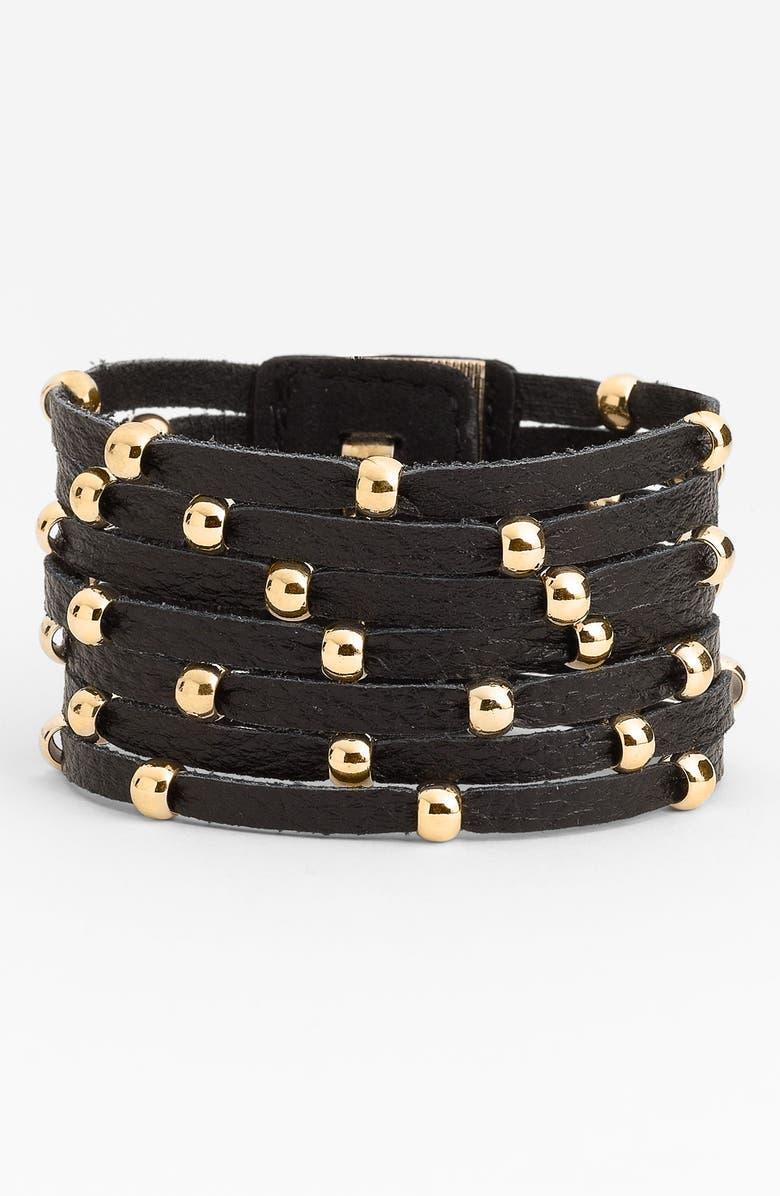 CARA Accessories Sliced Leather Studded Bracelet, Main, color, 001