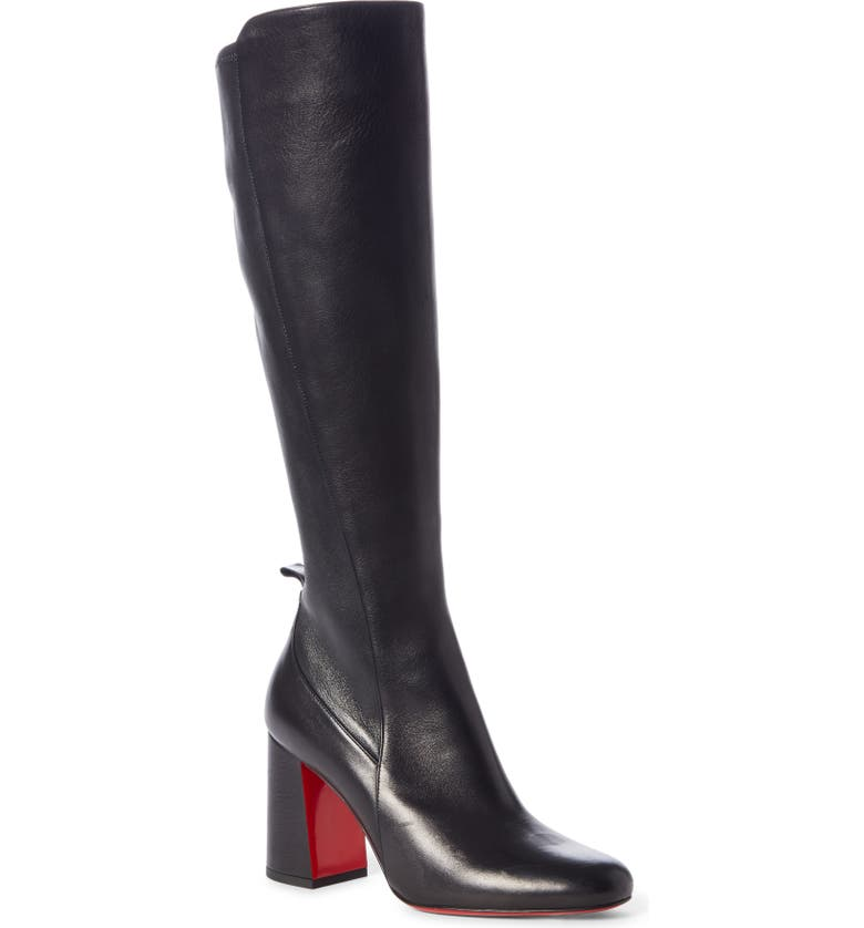 CHRISTIAN LOUBOUTIN Kronobotte Stretch Tall Boot, Main, color, BLACK LEATHER