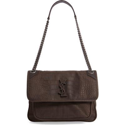 Saint Laurent Medium Niki Croc-Embossed Shoulder Bag - Ivory