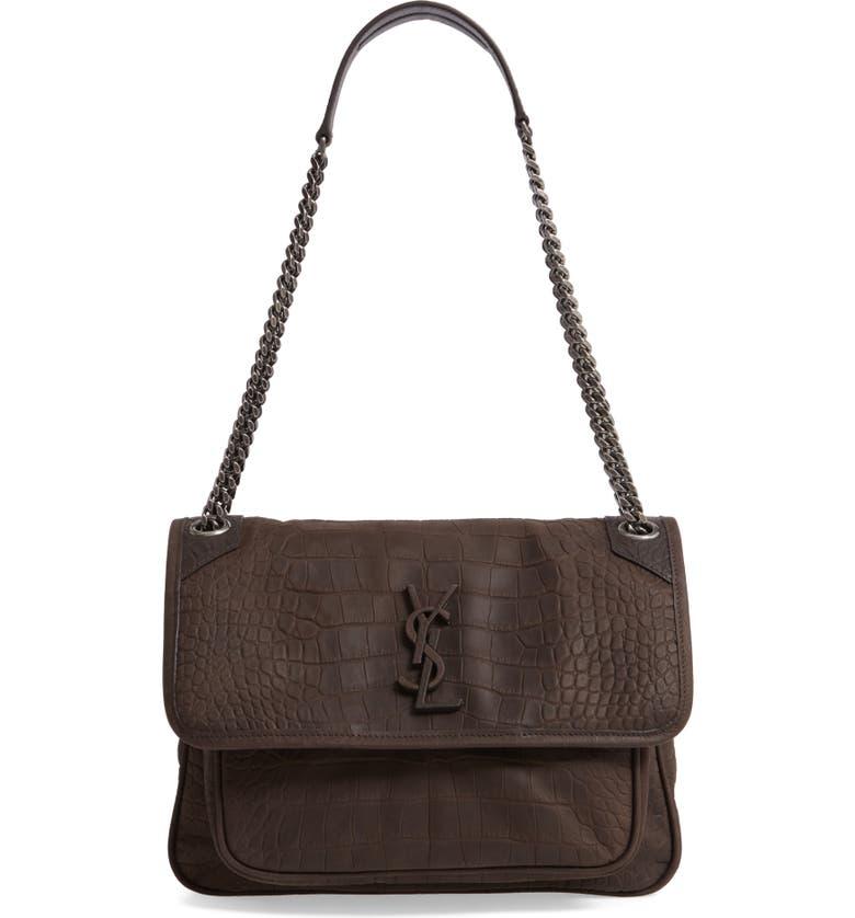 SAINT LAURENT Medium Niki Croc-Embossed Shoulder Bag, Main, color, 907